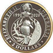 2 Dollars - Elizabeth II (6th Portrait - Kookaburra - 30th Anniversary High Relief) – obverse