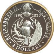 2 Dollars - Elizabeth II (6th Portrait - Kookaburra - 30th Anniversary High Relief) -  obverse