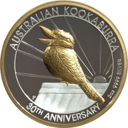 2 Dollars - Elizabeth II (6th Portrait - Kookaburra - 30th Anniversary High Relief) -  reverse