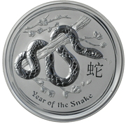 10 Dollars - Elizabeth II (4th Portrait - Year of the Snake - Silver Bullion Coin) -  reverse