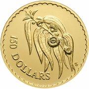 150 Dollars - Elizabeth II (3rd Portrait - Tasmanian Blue Gum - Gold Proof) -  reverse