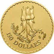 150 Dollars - Elizabeth II (4th Portrait - Desert Pea - Gold Proof) -  reverse