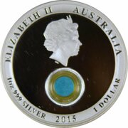 1 Dollar - Elizabeth II (4th Portrait - Treasures of the World - Turquoise -Silver Proof) -  obverse