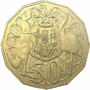 50 Cents - Elizabeth II (6th Portrait - Coat of arms - Gold Plated) -  reverse