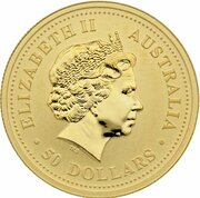 50 Dollars - Elizabeth II (4th Portrait - Year of the Rooster - Gold) -  obverse