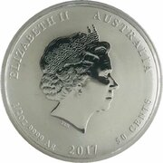 50 Cents - Elizabeth II (4th Portrait - Year of the Rooster - Colourised) -  obverse