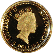 5 Dollars - Elizabeth II (3rd Portrait - Grey Kangaroo - Gold Bullion Coin) -  obverse