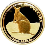 10 Dollars - Elizabeth II (4th Portrait - Mareeba Rock-Wallaby - Gold Proof) -  reverse