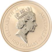 100 Dollars - Elizabeth II (3rd Portrait - Koala Platinum Bullion Coin) -  obverse