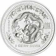1 Dollar - Elizabeth II (4th Portrait - Year of the Dragon - Silver Bullion Coin) -  reverse