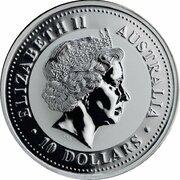 10 Dollars - Elizabeth II (4th Portrait - Year of the Rabbit - Silver Bullion Coin) -  obverse