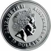 10 Dollars - Elizabeth II (4th Portrait - Year of the Snake - Silver Bullion Coin) -  obverse