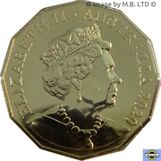 50 Cents - Elizabeth II (6th Portrait - Coat of arms - Gold Plated) -  obverse
