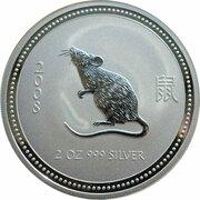 2 Dollars - Elizabeth II (4th Portrait - Year of the Rat - Silver Bullion Coin) -  reverse