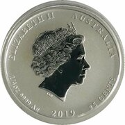 25 Cents - Elizabeth II (4th Portrait - Year of the Pig - Silver Bullion Coin) – obverse