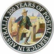 1 Dollar - Elizabeth II (4th Portrait - 200 Years of Postal Services in Australia - Silver Proof) -  reverse