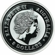 8 Dollars - Elizabeth II (4th Portrait - Year of the Pig - Silver Bullion Coin) -  obverse