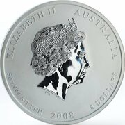 8 Dollars - Elizabeth II (4th Portrait - Year of the Mouse - Silver Bullion Coin) -  obverse
