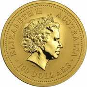 100 Dollars - Elizabeth II (4th Portrait - Year of the Tiger - Gold Bullion Coin) -  obverse