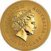 100 Dollars - Elizabeth II (4th Portrait - Year of the Rabbit - Gold Bullion Coin) -  obverse