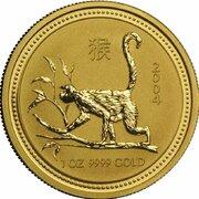 100 Dollars - Elizabeth II (4th Portrait - Year of the Monkey - Gold Bullion Coin) -  reverse