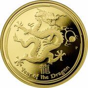 100 Dollars - Elizabeth II (4th Portrait - Year of the Dragon - Gold Bullion Coin) -  reverse