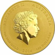 100 Dollars - Elizabeth II (4th Portrait - Year of the Horse - Gold Bullion Coin) -  obverse
