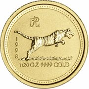 5 Dollars - Elizabeth II (3rd Portrait - Year of the Tiger - Gold Bullion Coin) -  reverse