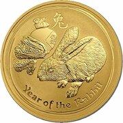 5 Dollars - Elizabeth II (4th Portrait - Year of the Rabbit - Gold Bullion Coin) -  reverse