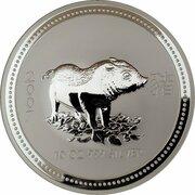 10 Dollars - Elizabeth II (4th Portrait - Year of the Pig - Silver Bullion Coin) -  reverse