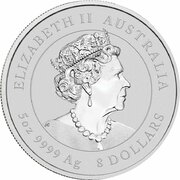 8 Dollars - Elizabeth II (6th Portrait - Year of the Mouse - Silver Bullion Coin) -  obverse