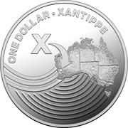 1 Dollar - Elizabeth II (4th Portrait - The Great Aussie Coin Hunt - Letter X - Silver Proof) -  reverse