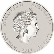 25 Cents - Elizabeth II (4th Portrait - Year of the Rooster - Silver Bullion Coin) – obverse
