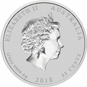 25 Cents - Elizabeth II (4th Portrait - Year of the Dog - Silver Bullion Coin) – obverse