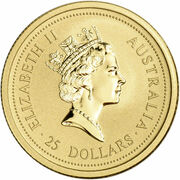 25 Dollars - Elizabeth II (3rd Portrait - Year of the Tiger - Gold Bullion Coin) -  obverse