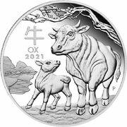 50 Cents - Elizabeth II (6th Portrait - Year of the Ox - Silver Bullion Coin) -  reverse