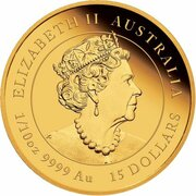 15 Dollars - Elizabeth II (6th Portrait - Year of the Ox - Gold Bullion Coin) -  obverse