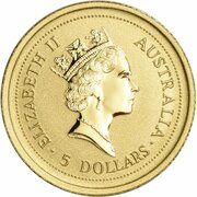 5 Dollars - Elizabeth II (3rd Portrait - Year of the Rat - Gold Bullion Coin) -  obverse