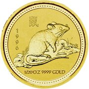 5 Dollars - Elizabeth II (3rd Portrait - Year of the Rat - Gold Bullion Coin) -  reverse