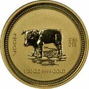 5 Dollars - Elizabeth II (4th Portrait - Year of the Pig - Gold Bullion Coin) -  reverse