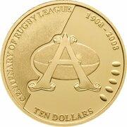 10 Dollars - Elizabeth II (4th Portrait - Centenary of Rugby League - Gold Proof) – reverse
