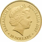 10 Dollars - Elizabeth II (4th Portrait - The Ashes 1882-2007- Gold Proof) -  obverse