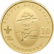 10 Dollars - Elizabeth II (4th Portrait - Centenary of Scouts- Gold Proof) – reverse