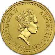 5 Dollars - Elizabeth II (3rd Portrait - Australian Nugget - Gold Bullion Coin) -  obverse