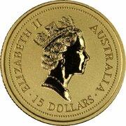 15 Dollars - Elizabeth II (3rd Portrait - Year of the Rat - Gold Bullion Coin) -  obverse
