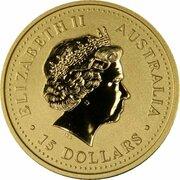 15 Dollars - Elizabeth II (4th Portrait - Year of the Goat - Gold Bullion Coin) -  obverse