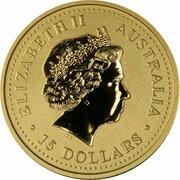 15 Dollars - Elizabeth II (4th Portrait - Year of the Rooster - Gold Bullion Coin) -  obverse