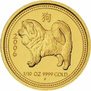 15 Dollars - Elizabeth II (4th Portrait - Year of the Dog - Gold Proof Coin) -  reverse
