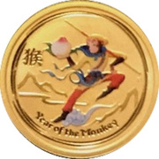 5 Dollars - Elizabeth II (4th Portrait - Year of the Monkey - Gold Bullion Coin) -  reverse
