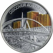 1 Dollar - Elizabeth II (4th Portrait - Discover Australia - Melbourne) -  reverse